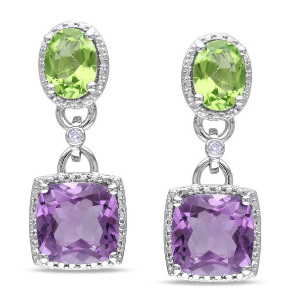 Miadora Sterling Silver Amethyst, Perdiot and Diamond Dangle Earrings