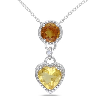 M by Miadora Sterling Silver Two-Tone Citrine and Diamond Necklace