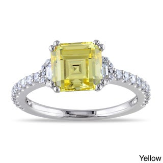 M by Miadora Sterling Silver Yellow or White Octagon-cut Cubic Zirconia Engagement Ring