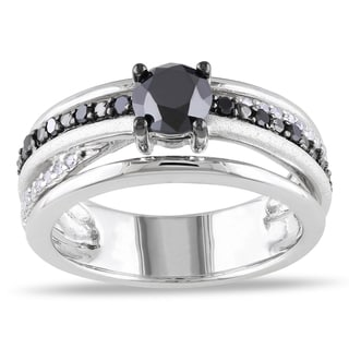 Miadora Sterling Silver 1ct TDW Black Round-cut and White Diamond Ring