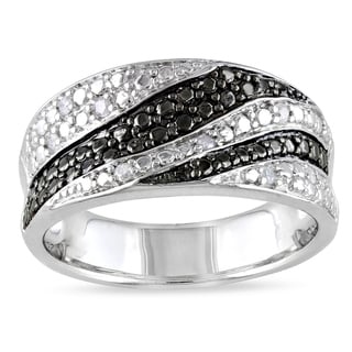 Miadora Sterling Silver 1/10ct TDW Round-cut Diamond Ring (H-I, I2-I3)
