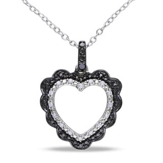 Haylee Jewels Sterling Silver 1/10ct TDW Black and White Diamond Necklace