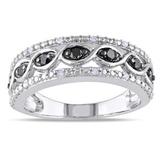 Miadora Highly Polished Sterling Silver 1/4ct TDW Black and White Diamond Ring