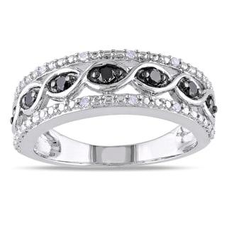 Miadora High Polish Sterling Silver 1/4ct TDW Black and White Diamond Ring