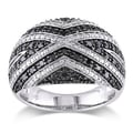 Miadora Sterling Silver 1/2Ct TDW Black Diamond Cocktail Ring