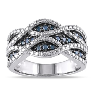 Haylee Jewels Sterling Silver 1/4ct TDW Pave Wavy Blue Diamond Ring