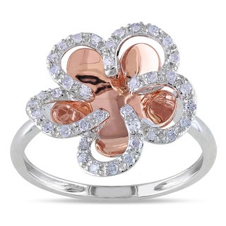 Miadora 14k Two-tone Gold 1/5ct TDW Diamond Flower Ring (H-I, I2-I3)