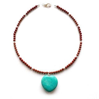 Turquoise Heart On Red Jasper Necklace
