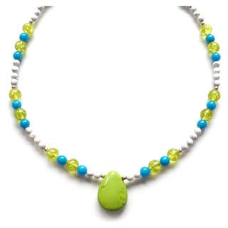 Lime Green Turquoise and Crackled Glass Necklace