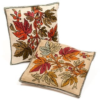 Set of Two Kashmiri Embroidered Chain Stitch Cushion Covers (India)