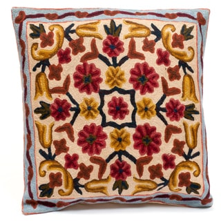 Kashmiri Embroidered Chain Stitch Floral Cushion Cover (India)