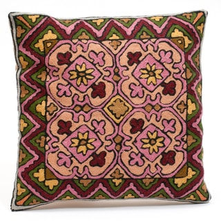 Kashmiri Floral Chain Stitch Embroidered Pillow Cover (India)