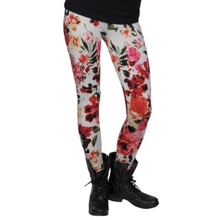 Journee Collection Juniors Floral Print Red Fashion Leggings
