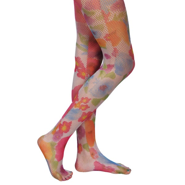Journee Collection Junior's Floral Print Fishnet Tights