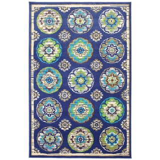 Indoor/Outdoor Tokens Blue Rug (5'3 x 7'6)