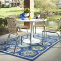 Indoor/Outdoor Tokens Blue Rug (8' x 10')