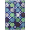 Indoor/Outdoor Bright Radials Cool Rug (8' x 10')