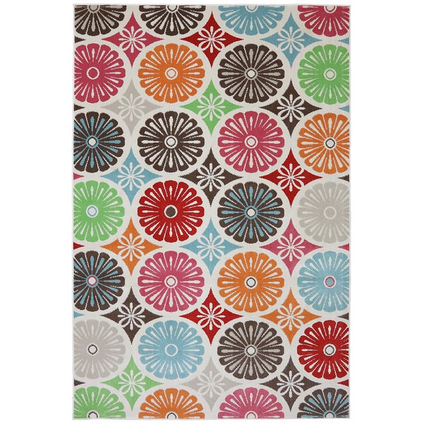 Indoor/Outdoor Bright Radials Multi Rug (8' x 10')