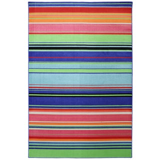 Indoor/Outdoor Bright Stripes Multi Rug (8' x 10')