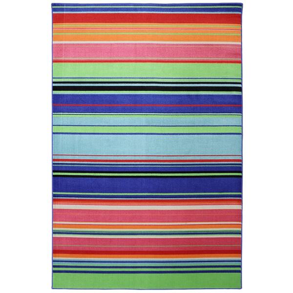 Indoor/Outdoor Bright Stripes Multi Rug (8' x 10')