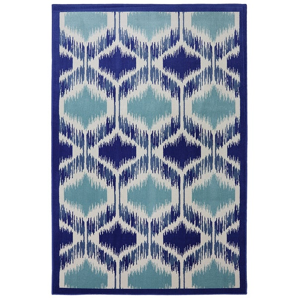 "Indoor/Outdoor Illuminated Blue Rug (5'3 x 7'10"")"