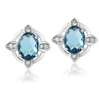 Glitzy Rocks Sterling Silver Blue Topaz And White Topaz Stud Earrings 3 1/5ct TGW