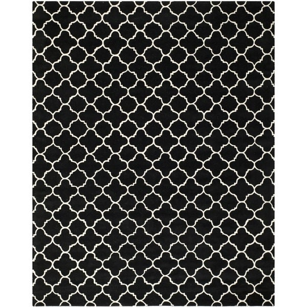 handmade moroccan black and white wool rug 6 39 x 9 39