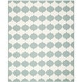 Handwoven Moroccan Dhurrie Blue-and-White Wool Rug (6' x 9')