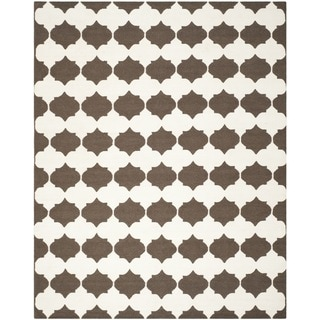 Safavieh Hand-woven Moroccan Reversible Dhurrie Brown Wool Rug (9' x 12')