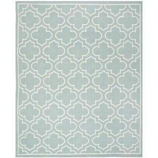 Safavieh Hand-woven Moroccan Reversible Dhurrie Blue Wool Rug (6' x 9')