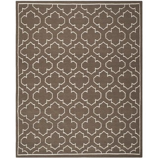 Hand-woven Moroccan Dhurrie Transitional Brown Wool Rug (9' x 12')