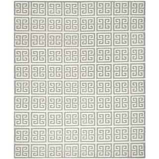Safavieh Hand-woven Moroccan Reversible Dhurrie Grey Wool Rug (9' x 12')