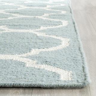 Safavieh Hand-Woven Moroccan Reversible Dhurrie Geometric Blue Wool Rug (8' x 10')