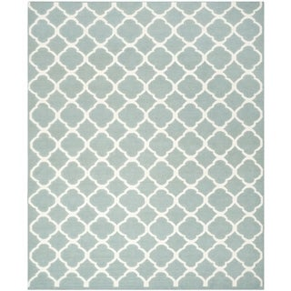 Contemporary Handwoven Moroccan Dhurrie Blue Wool Rug (9' x 12')