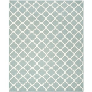 Safavieh Contemporary Handwoven Moroccan Reversible Dhurrie Blue Wool Rug (9' x 12')