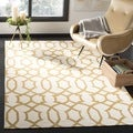 Safavieh Handwoven Yellow-Patterned Moroccan Reversible Dhurrie Ivory Wool Rug (3' x 5')