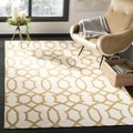 Safavieh Handwoven Yellow-Patterned Moroccan Dhurrie Ivory Wool Rug (3' x 5')
