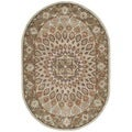 Handmade Heritage Medallion Blue/ Grey Wool Rug (4'6 x 6'6 Oval)