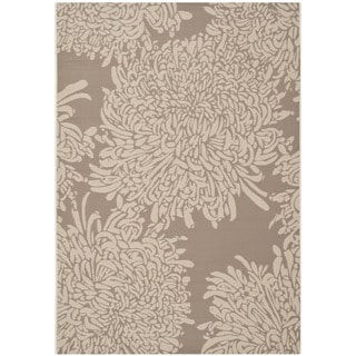 Martha Stewart Chrysanthemum Dark Beige/ Beige Indoor/ Outdoor Rug (5'3 x 7'7)