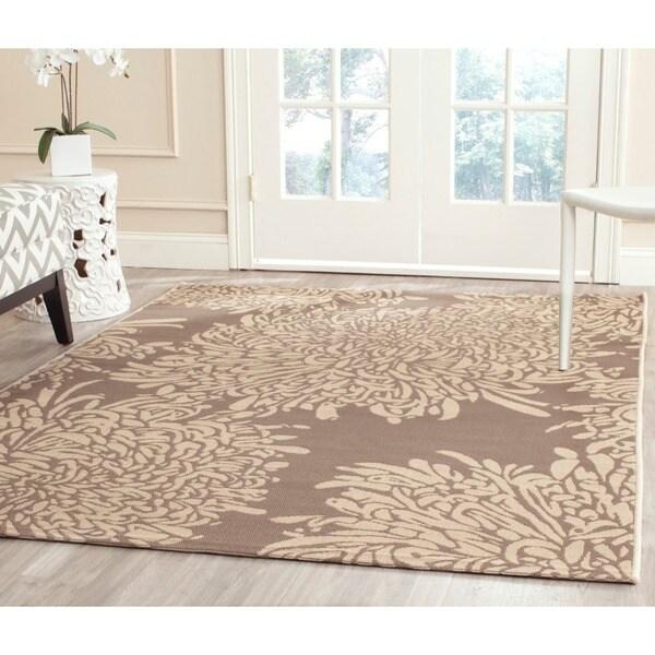 Martha Stewart Chrysanthemum Dark Beige/ Beige Indoor/ Outdoor Rug (5'3 x 7'7)