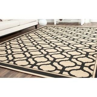Martha Stewart Tangier Cream/ Black Indoor/ Outdoor Rug (5'3 x 7'7)