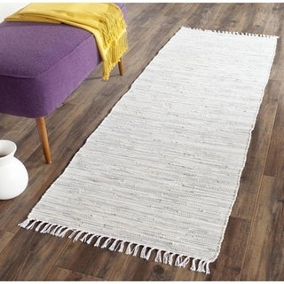 Safavieh Hand-woven Montauk Silver Cotton Rug (2'3 x 7')