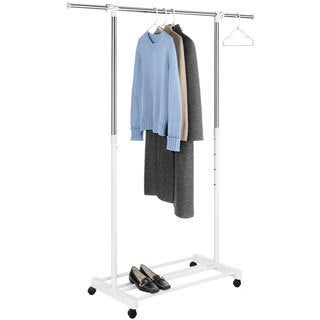 Whitmor Deluxe Chrome/ White Adjustable Garment Rack