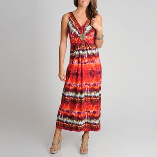 R & M Richards Women's Tie-dye Maxi Dress