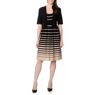R & M Richards Women's Striped 2-piece Jacket Dress Set