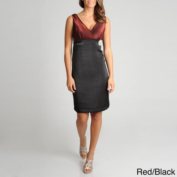 R & M Richards Women's Shutter Pleat Dress