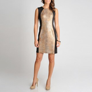 R & M Richards Women's Foil Snake Panel Print Dress