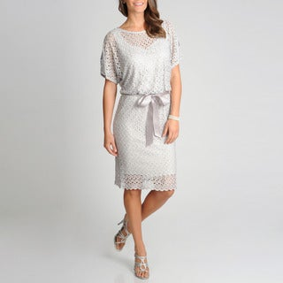 R & M Richards Women's Crochet Blouson Dress