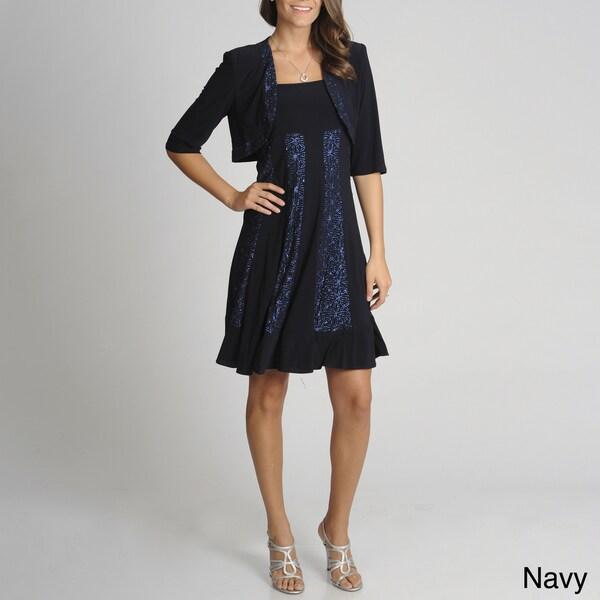R & M Richards Women's 2-piece Sleeveless Jacket Dress