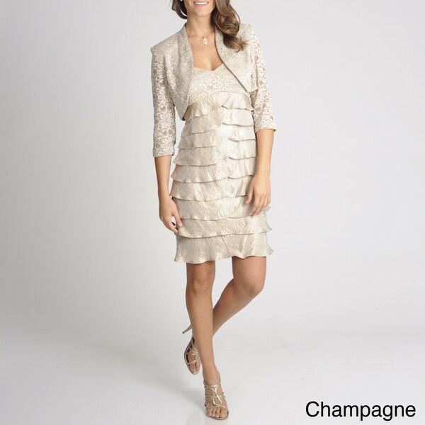 R & M Richards Women's 2-piece Empire Waist Jacket Dress